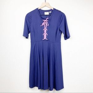 Anthropologie Maeve Blue Purple Lace Up Dress NEW